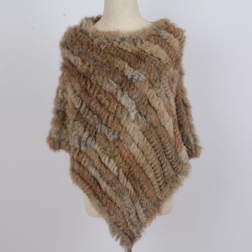 Echte Natürliche Kaninchenfell Poncho Weich Cape Wrap Damenmode 2019 Neu 41071N