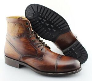 dee44133a51 Details about Men's MAGNANNI 'Peyton' Cognac Brown Leather Cap Toe Boots  Size US 12 - D