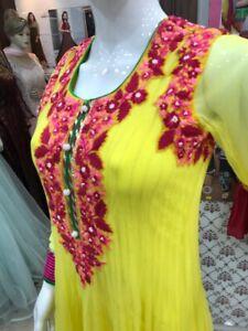 Details about Hand Embroidered Indian Pakistani salwar kameez Anarkali  Churidar ready made M