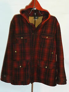 VINTAGE-PLAID-WOOLRICH-WOOL-HUNTING-JACKET-COAT-WITH-HOOD-BRASS-SNAPS-USA-42