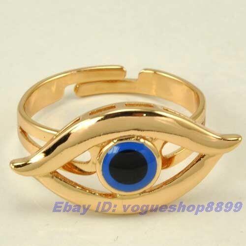 Size 8 Ring,ANGEL EYE REAL RARE 18K ROSE GOLD GP SOLID FILL GEP EVIL EYE v11