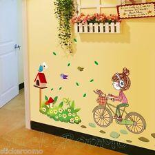 LITTLE GIRL FAIRY & FANTASY WALL ART STICKERS KIT PLAYROOM HOME DIY DECORATION