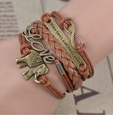 NEW Retro Infinity Elephants Love Leather Charm Bracelet plated Bronze HOT