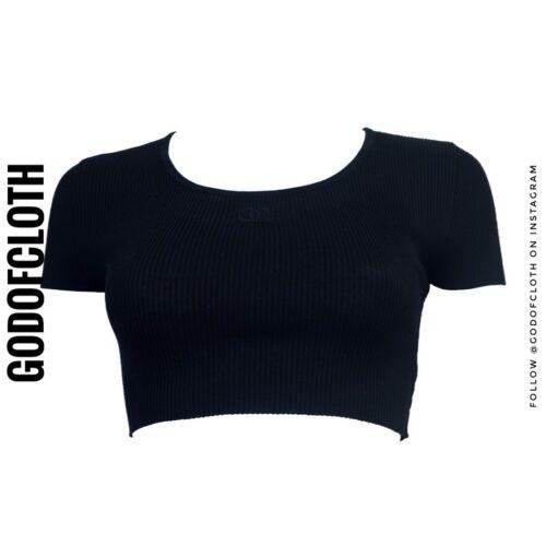Chanel Black 1995 CC Logo Crop Top