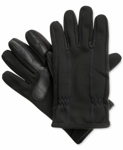 NEW $110 ISOTONER MEN BLACK BLUE STITCH SMARTOUCH THERMAL WINTER GLOVES SIZE XL