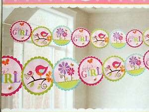 Tweet Baby Girl Baby Shower 1 Printed Garland Party Supplies Ebay