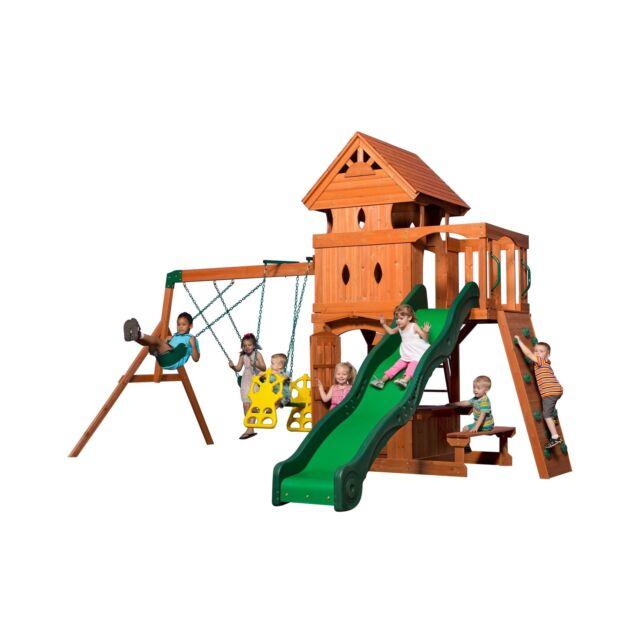 Backyard Discovery Monterey Cedar Swing Set 2 Story Playhouse Wood Wooden Play