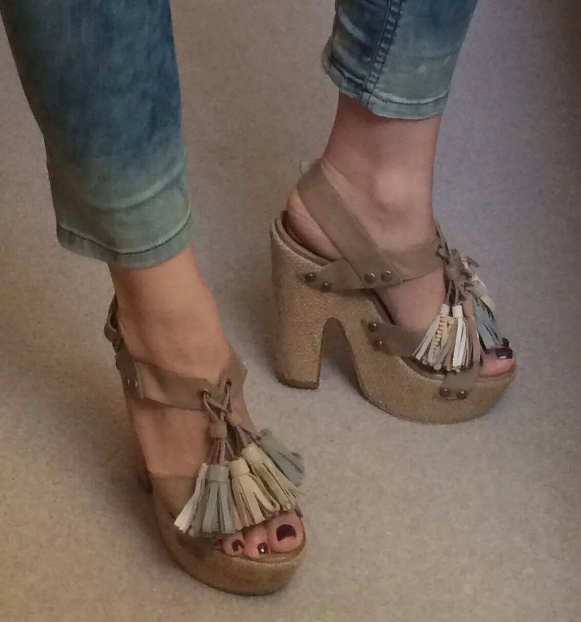 Top Shop Premium Tassels Platform Wedge Sandals  Size 4   37 Boho Ethnic