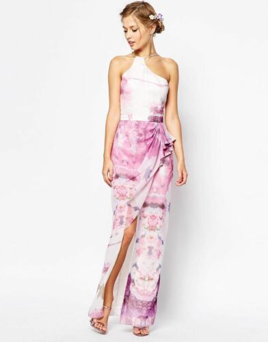 V Label London Thigh Slit Floral Print Maxi Occasion Prom Races Dress