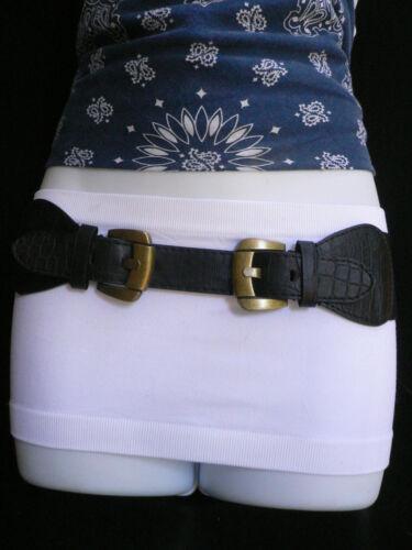 New Women Hip Waist Elastic Black Thin Fashion Belt Two Antique Gold Buckles S M