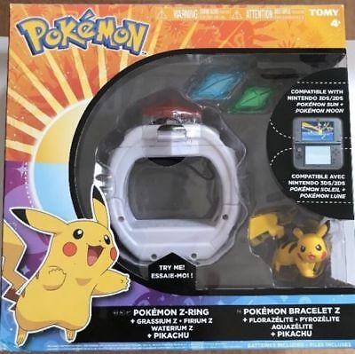 Z-Ring mit Pikachu Figur /& 3 Z-Kristalle Pokemon T19202D