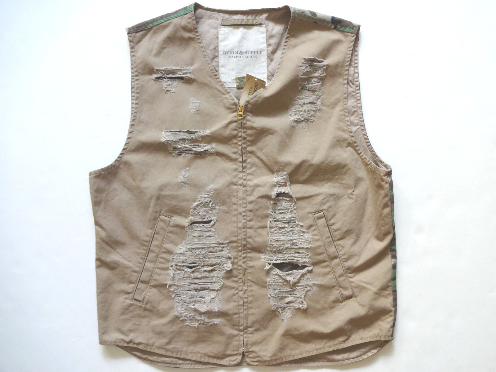 New Ralph Lauren Denim and Supply Khaki Camo Distressed Cotton Vest Slim L
