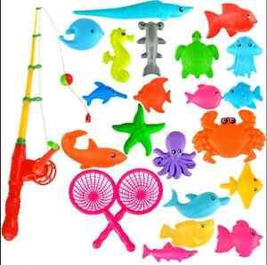 Set magnetic fishing fish rod model net game fun toy kid for Fishing toy set