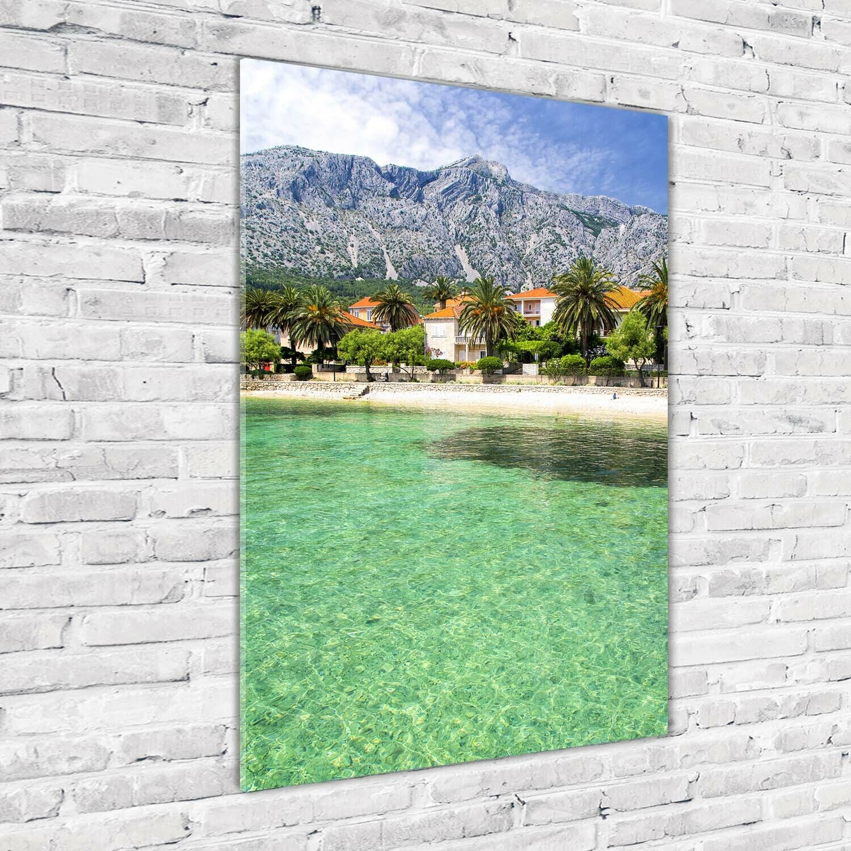 Wand-Bild Kunstdruck aus Hart-Glas Hochformat 70x100 Strand in Kroatien