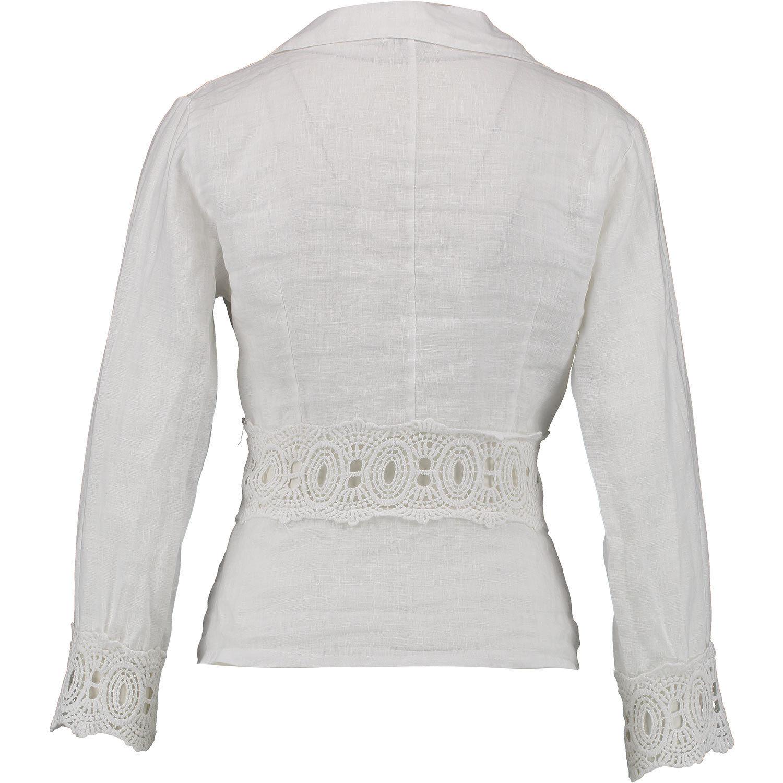 Italian brilliant white linen lightweight summer blazer w crochet detail M 12 14