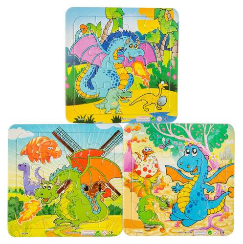 Puzzles Puzzle ver Tiere Dinosaurier Mitgebsel Dinomotive 14 x 14 cm 16 tlg