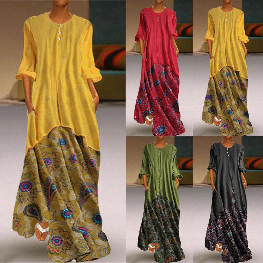 Plus Size Women Retro Fake Long Sleeves Solid Linen O-Neck Maxi Printed Dress
