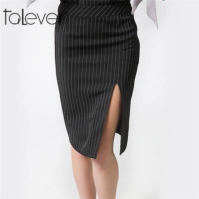 New Women Lady Office Work Stretch Pencil Midi Skirt Striped Bodycon Split Skirt