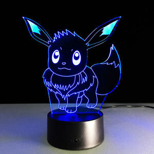 Pokemon Eevee 3D LED Night Light 7Change Colors Touch Switch Table Desk Lamp