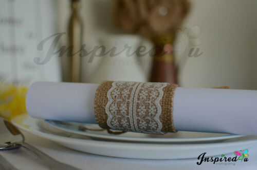Set of 10 Hessian Burlap Lace Serviette Table Napkin Rings Wedding Party