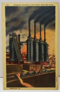 Pittsburgh-Pa-Workshop-of-the-World-Night-Mill-Scene-Postcard-D17