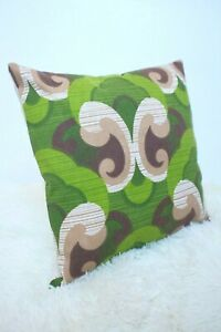 Retro-Cushion-Cover-16x16-034-Amazing-Original-60s-70s-Fabric-Green-Funky