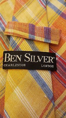"""Auth., Ben Silver, Plaid,100% Linen, Yellow, Plaid, Weighted, XL Neck Tie (67"""")"""
