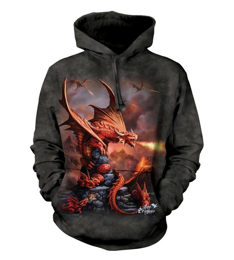 La MONTAGNA UNISEX ADULTO Fire Dragon Fantasy Felpa Con Cappuccio