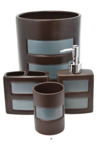 4 Piece Brown /& Turquoise Geo Bath Bathroom Accessory Set With Garbage Waste Bin