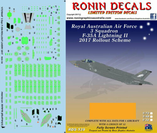 Ronin Graphics 1//72 RAAF 3 Squadron F-35A Roll out Decals for Academy kits