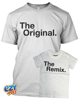 The Original / The Remix Adult & Baby Matching Tshirt Set White / Black Gift AusgewäHltes Material