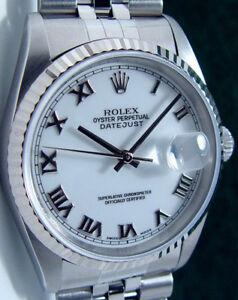 Rolex-Mens-Stainless-WG-Bold-Roman-DateJust-Model-16234-SANT-BLANC