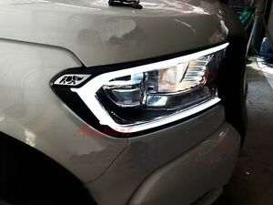 FORD-RANGER-T6-WILDTRAK-MK2-WHITE-LED-FRONT-HEAD-LIGHT-LAMP-COVER-TRIM-2015-2017