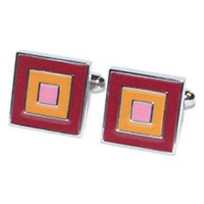 Red, Orange & Pink Squares Cufflinks With Gift Pouch Smart Formal Present New