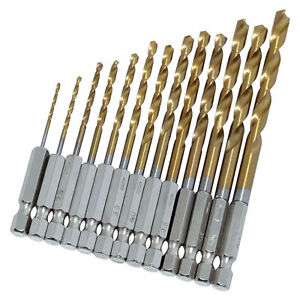 034-LOOK-034-13PC-HSS-TITANIUM-COATED-DRILL-BIT-SET-1-4-034-HEX-SHANKS-1-5mm-6-5mm-BITS