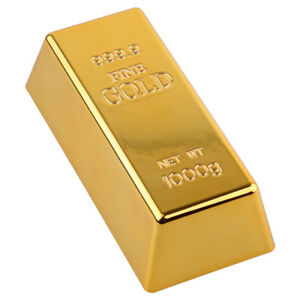 Fake Plated Gold Bar Bullion Door Stop Paperweight Desk