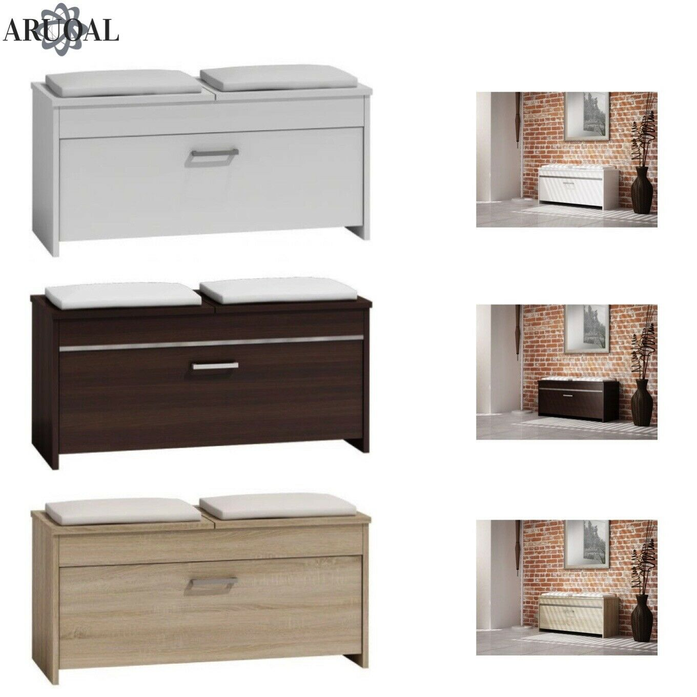 ARUOAL (ROMA) shoes Cabinet, Storage Box with Seat Various Colours 100 x 46 x 38
