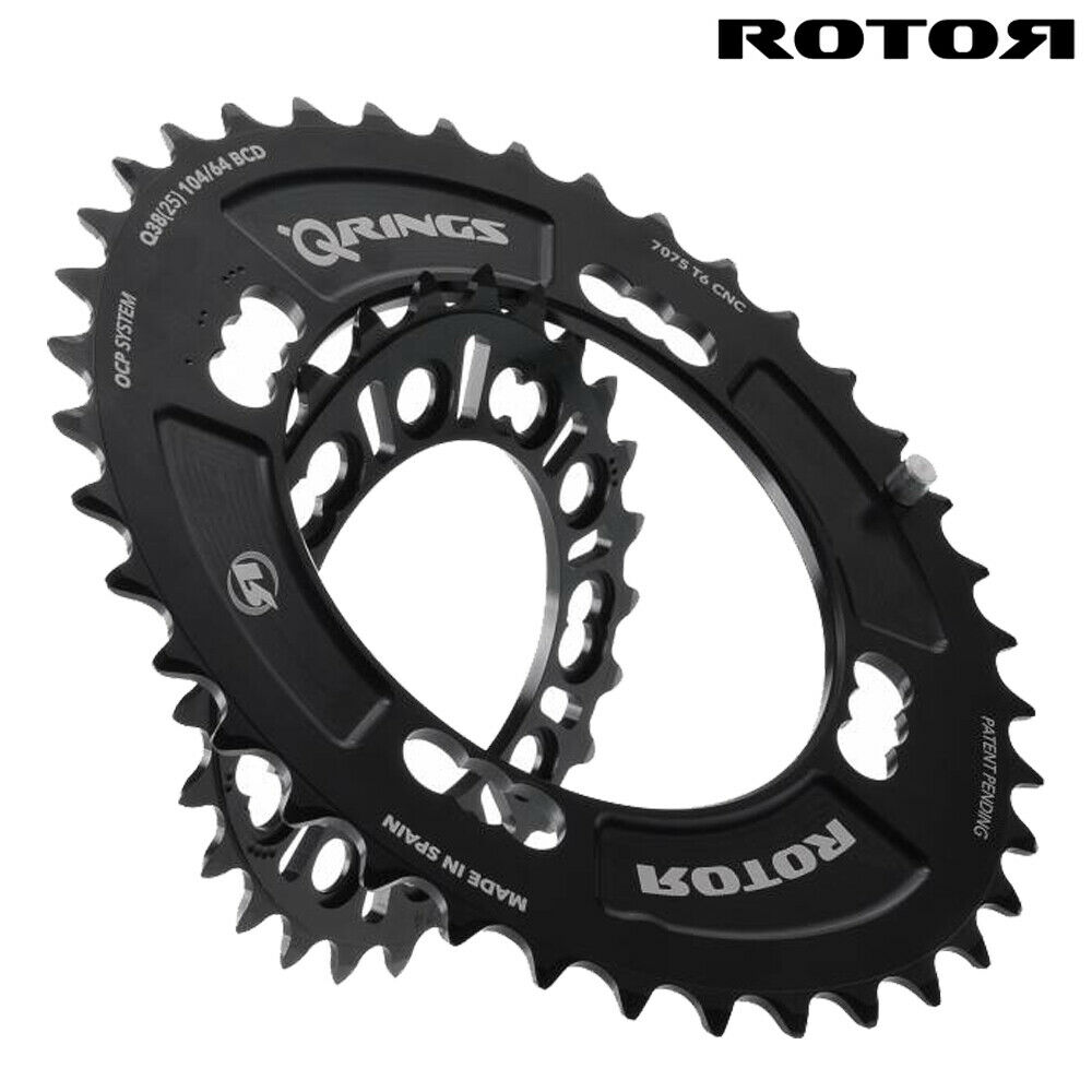 ROTOR MTB QRINGS OVAL CHAINRINGS - QX2-DOUBLE - 104 64BCD x 4bolts -FOR SHIMANO