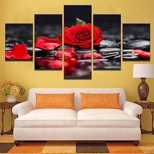 5Pcs-Set-Malerei-Art-Decor-Wandfarben-Rote-Rose-Leinwand-Ungerahmtes-Abstraktes