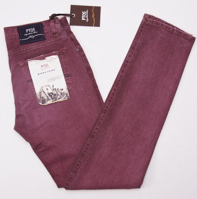 NWT $425 PT05 PANTALONI TORINO Washed Burgundy Denim Jeans Slim-Fit 32 PT01
