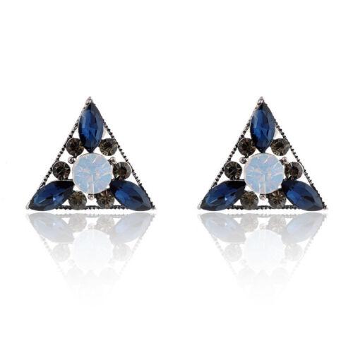 Vintage Women Crystal Hollow Triangular Ear Stud Earrings Fashion Alloy Jewelry