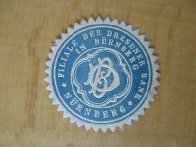 Siegelmarke 16119 Filiale Der Dresdner Bank Nürnberg Reines Und Mildes Aroma