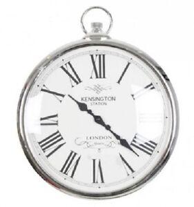 Silver-Pocket-Watch-Clock-Kensignton-Station-Large-Wall-Clock-42cm