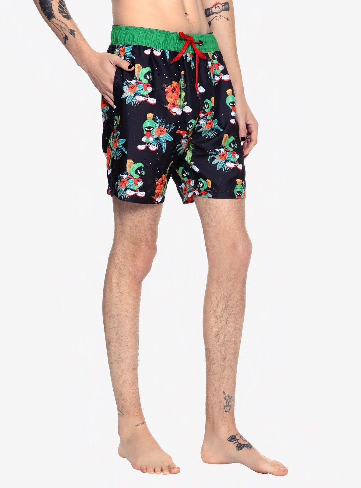 Looney Tunes Marvin The Martian Swim Trunks  Swim Suit Boardshorts 40 NWT