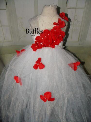 Le Ragazze Tutu Vestito Rosso Petalo Damigelle fiori ragazza fatto a mano Principessa Matrimonio