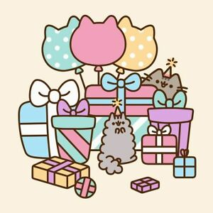 Image Is Loading Pusheen Cat Party Balloons Amp Presents Blank Birthday