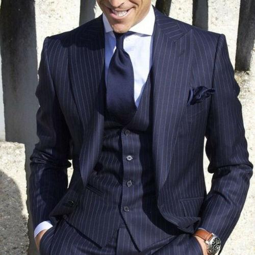 Custom Men Wedding Suits Striped Tuxedos Slim Fit Groomsmen Pants Vest Blazers