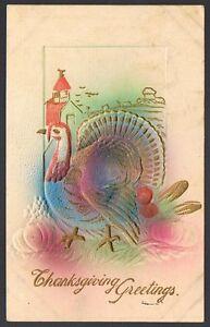 Vintage-Embossed-Turkey-Thanksgiving-Greetings-Postcard