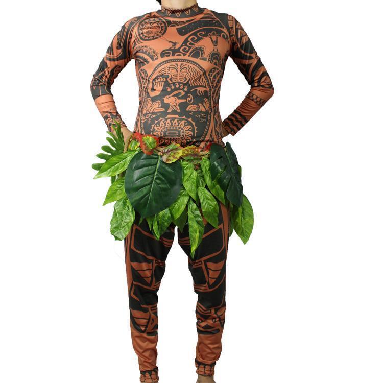Halloween Moana Costume Adult Princess Tattoo Fancy Dress Maui Cosplay Outfits
