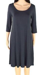 Eileen-Fisher-Womens-Sheath-Dress-Gray-Size-Medium-M-Scoop-Neck-Jersey-198-929